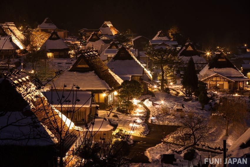 Fantastic snow and light up in Miyama during the winter season